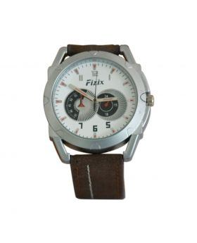 Fizix EW0021 Stainless Steel Chocolate Colored Leather  Belt Automated Mens Watch