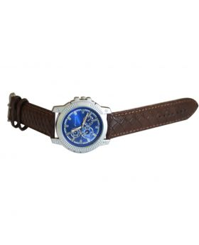Fizix EW0025 Stainless Steel Chocolate Colored Leather  Belt Automated Mens Watch