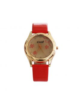 Disco EW0075 Stainless Still Leather Belt Analogue Watch For Women