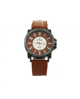 Titan EW0083 Stainless Still Leather Belt Analogue Watch For Men