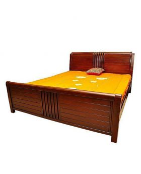 Canadian  designed Oak Veneer Wood Bed - Lacquer Polish