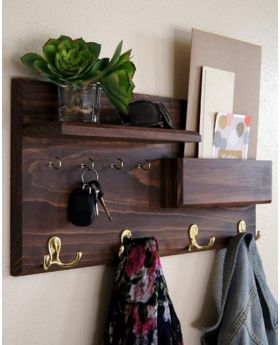 Canadian Oak Veneer Wood Wall Hanging Shelf - Brown