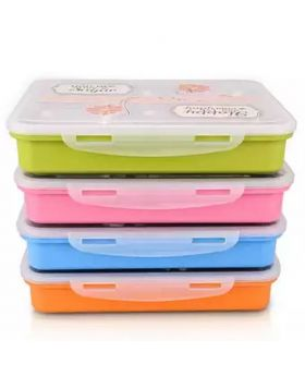 4 Compartment Plastic PP Student Lunch Box - Multicolor