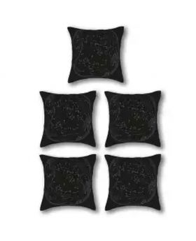 Five Pieces Cushion & Cover Black Set