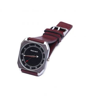 Fastrack FK02301-0018 Stainless Steel Leather Belt Analogue Watch For Men and Women