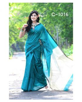 Tangail Silk Saree for Women (Sky Blue-Green)