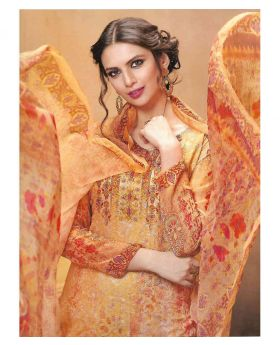 HANSA GEORGETT PRINT SALWAR KAMEEZ unstitched - Orange