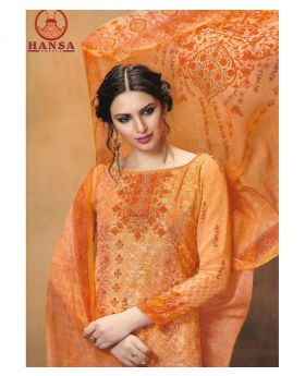 HANSA GEORGETT PRINT SALWAR KAMEEZ unstitched - Peach orange