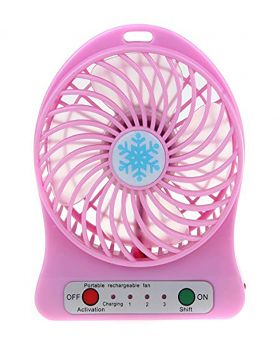 Universal Portable Lithium Battery Rechargeable Mini Desk USB Fan With Power Bank-Pink