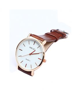 Halei Stainless Steel Leather Belt Analogue Watch For Men- HL02701-0039