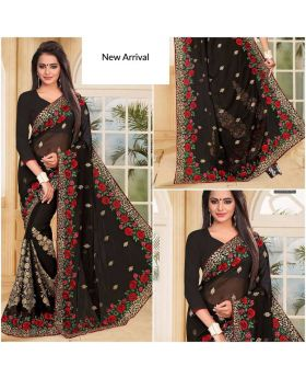 Gorgeous silk and Wetless Georgette Saree1