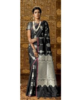 Kanthkala Banarasi Silk Saree - Black