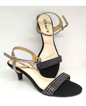 LADIES MEDIUM HEEL PARTY SANDALS-BLACK