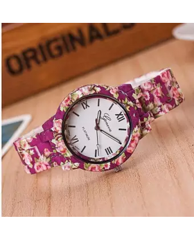 Magenta Printed Ceramics Ladies Wrist Watch