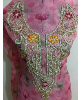 Muslin Karchupi Work Pink Color single Piece  Georgette Single Piece