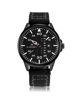 NAVIFORCE 9074 Casual Leather Analog Quartz Movement Watch. Black & Red