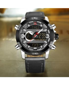 Naviforce NF9097 Dual Display Analog and Digital Casual Leather Watch- Black & Gold Clour
