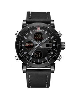 NAVIFORCE 9132 Dark Brown Strap Black Case Men's Watches Sport Military Dual Display Leather Watch Round 3ATM Waterpoof Multifunction Wristwatch Male Clock