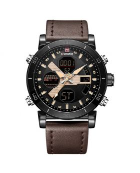 NAVIFORCE 9132 Dark Brown Strap Rose Gold Case and Hands Men's Watches Sport Military Dual Display Leather Watch Round 3ATM Waterproof Multifunction Wristwatch Male Clock