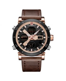 NAVIFORCE 9132 Brown Strap Gold Case and Hands Men's Watches Sport Military Dual Display Leather Watch Round 3ATM Waterpoof Multifunction Wristwatch Male Clock