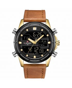 Naviforce NF9138  Watches  Dark Brown Leather Strap Black Case Color For Men's