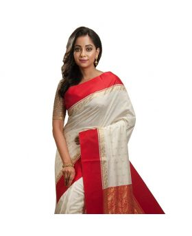 silk katan saree(white and red)