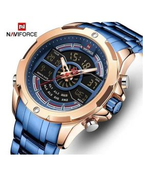 Naviforce NF9120 Dual Display Analog and Digital Stainless Steel Watch.Black Strap Red Dial Hands color