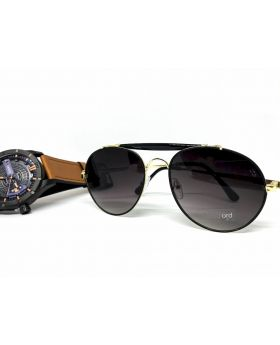 Plastic Alloy Golden-Black Sunglass for Men