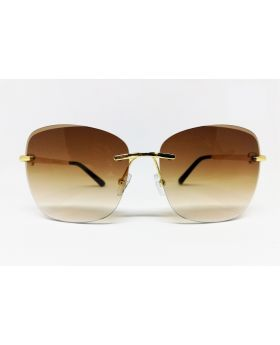 Metal & Plastic Brown-Gold Sunglass For Women