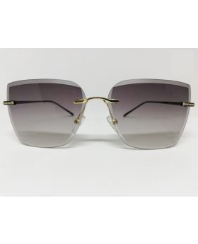Metal & Plastic Black-Golden Fashonable Rectangular Sunglass For Women