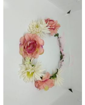 Floral Crown Bridal Flower Crown Wreath Headband Women Pink & White