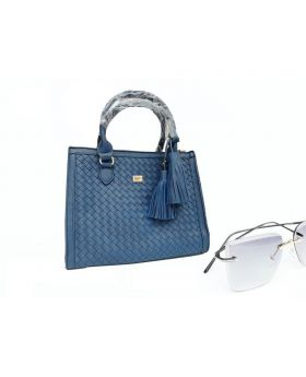 Bluish Artifial Leather Hand Bag For Women