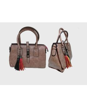 Artificial Leather Square Shaped Dark Salmon Color Ladies Bag  ""