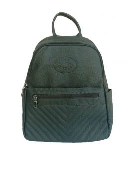 Artificial Leather Backpack Shaped Hunter Green Color Ladies Bag