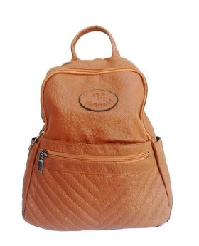 Artificial Leather Backpack Shaped Dark Brown Color Ladies Bag