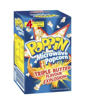 Poppin microwave popcorn triple butter flavour explosion 100g x4 pack