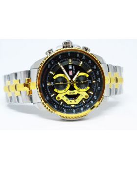Replica Men's Watch Silver-Golden color & Black-Golden Bezel