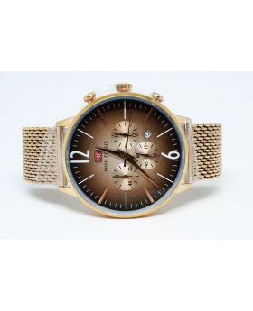 Mini Focus Rose Gold Brown textured Watch for Men