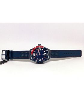 Mini Focus Silver & Blue-Red color Analog Movement Date Function & Water Resistant Watch for Men