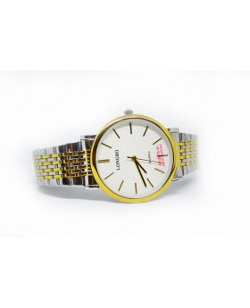 Longbo Metal Strap & Bezel:  Silver and Golden, Dial: White. Gents Pair available Watch for Men