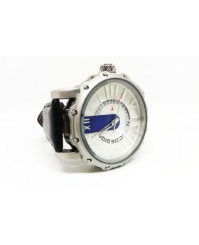 Nepic Design Replica Black Strap Silver Bezel Silver-Off Dial White Date Functions Watch for Men