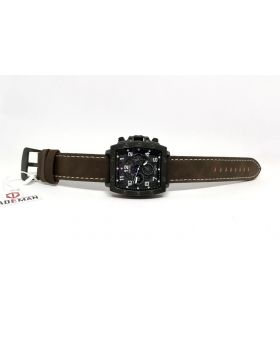 Kademan Antique Dark Brown Leather Strap Square Black Bezel Ornamental Sub-dials Watch for Men