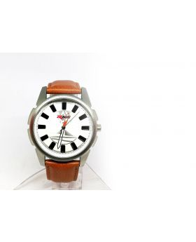 Race Replica Brown Strap Artificial Leather Grey Bezel Watch for Men