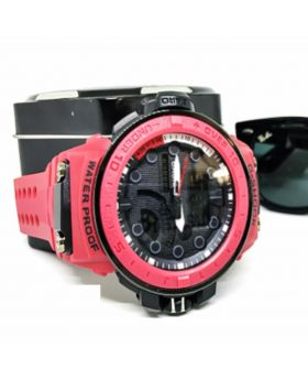G-Shock Replica Sports Watch Light Red Silicon Strap Digital and Analog movement Watch for Men