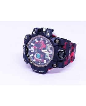Joefox Black-Red Strap and Bezel Camouflage Silicon Strap Analog and Digital Sports Water Resistant Watch for Men