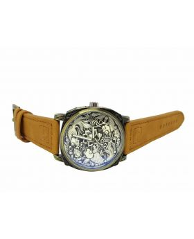 Replica Antique/copper Designed Bezel and Dial Brown Leather Strap Watch for Men