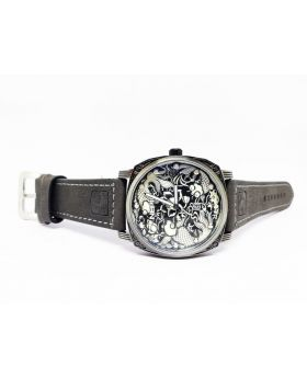 Replica Antique Silver Designed Bezel and Dial Grey Leather Strap Watch for Men