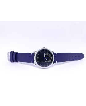 Replica Silver Bezel Black Dial Navy-blue strap Watch for Men