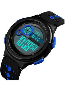SKMEI Digital Watch Light Alarm Black - Blue Silicon Strap Watch for Men