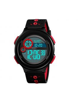SKMEI Digital Watch Light Alarm Black - Red Silicon Strap Watch for Men